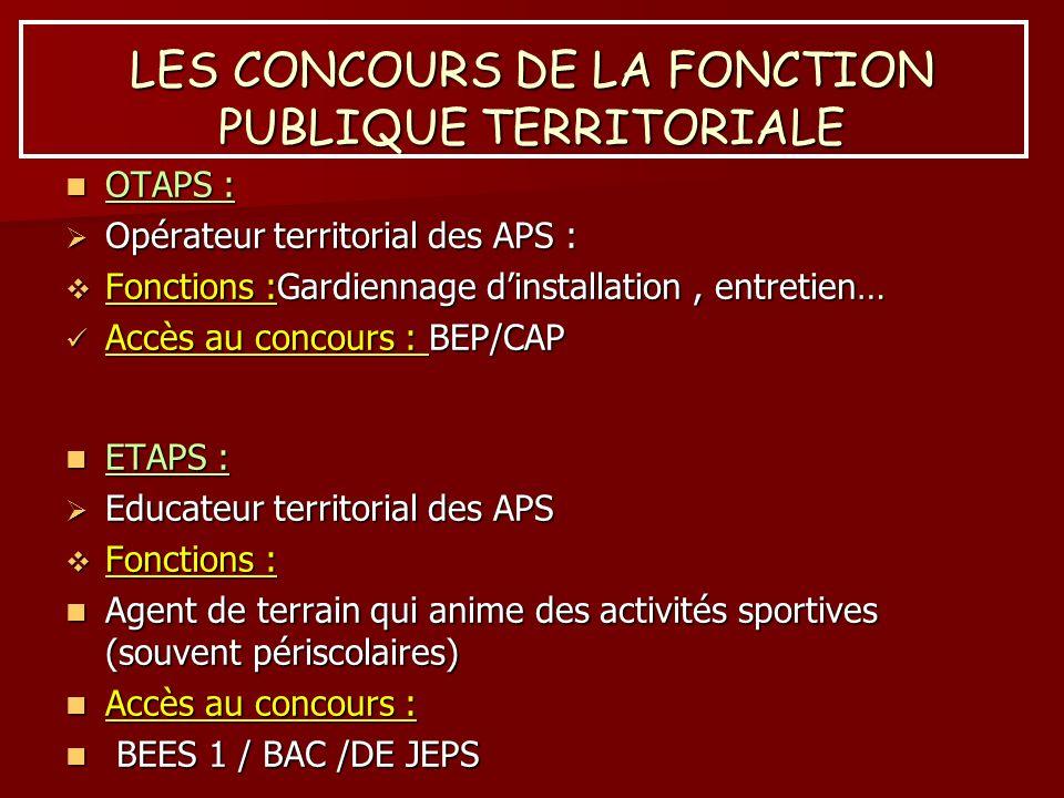 LES CONCOURS DE LA FONCTION PUBLIQUE TERRITORIALE