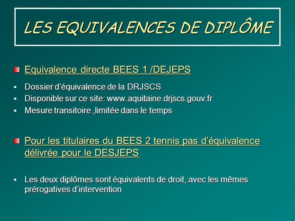 LES EQUIVALENCES DE DIPLÔME