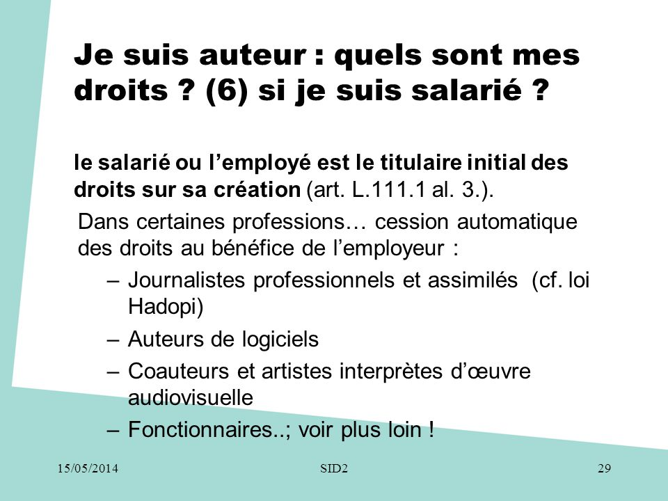 Je suis auteur : quels sont mes droits (6) si je suis salarié