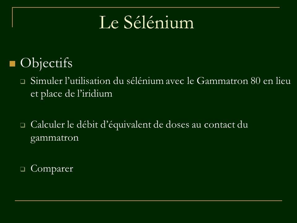 Le Sélénium Objectifs. Simuler l'utilisation du sélénium avec le Gammatron 80 en lieu et place de l'iridium.