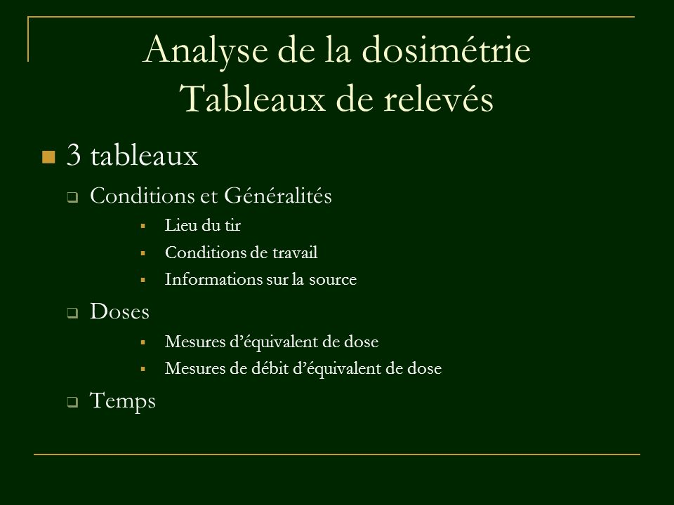 Analyse de la dosimétrie Tableaux de relevés
