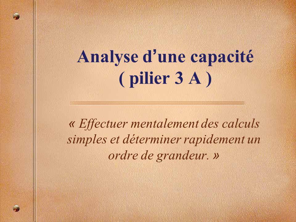 Analyse d'une capacité ( pilier 3 A )