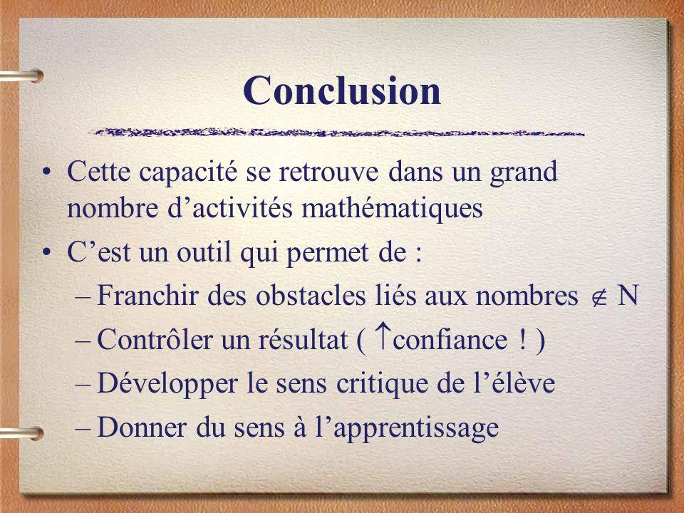 ConclusionCette capacité se retrouve dans un grand nombre d'activités mathématiques. C'est un outil qui permet de :
