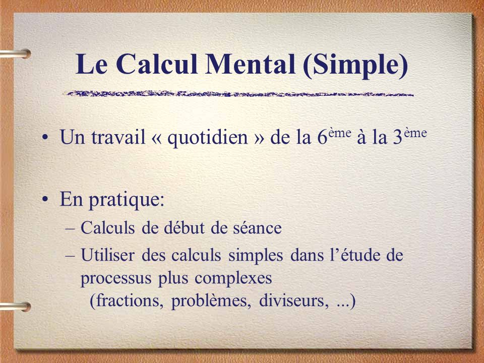 Le Calcul Mental (Simple)