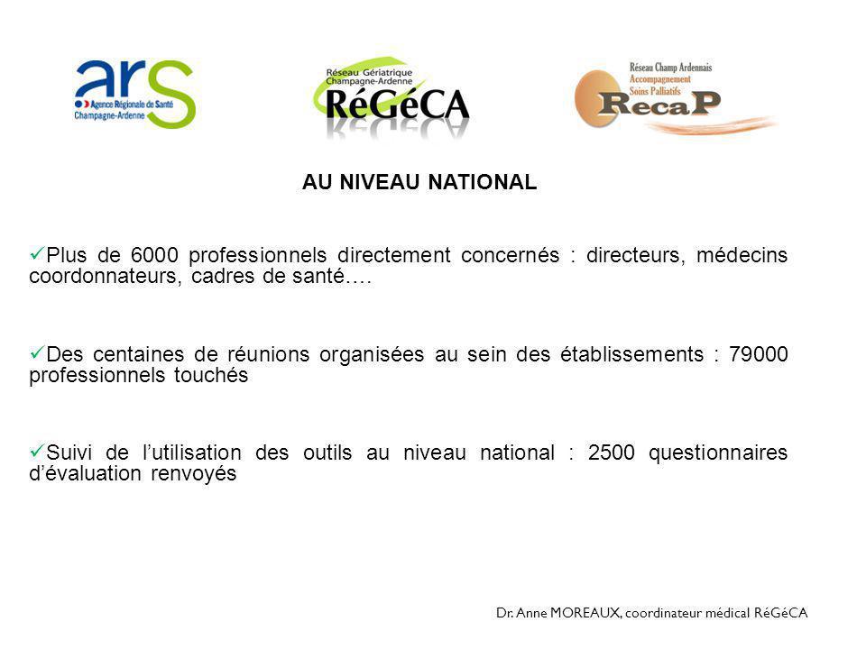 AU NIVEAU NATIONAL Plus de 6000 professionnels directement concernés : directeurs, médecins coordonnateurs, cadres de santé….
