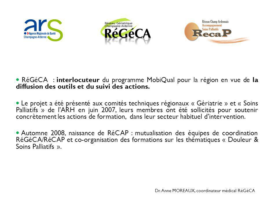  RéGéCA : interlocuteur du programme MobiQual pour la région en vue de la diffusion des outils et du suivi des actions.