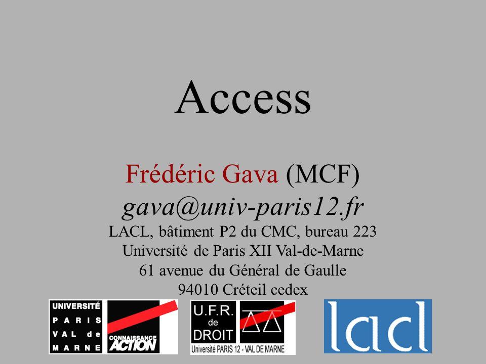 Access Frédéric Gava (MCF) gava@univ-paris12.fr