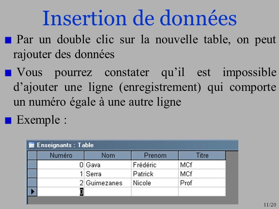 Insertion de données Par un double clic sur la nouvelle table, on peut rajouter des données.