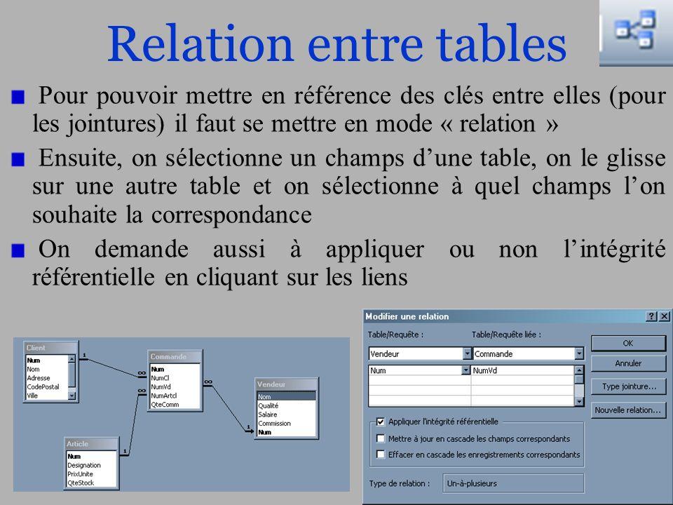 Relation entre tables Pour pouvoir mettre en référence des clés entre elles (pour les jointures) il faut se mettre en mode « relation »