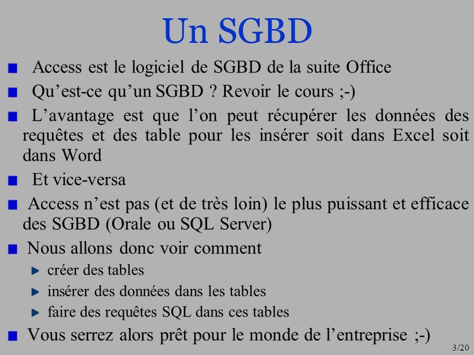 Un SGBD Access est le logiciel de SGBD de la suite Office