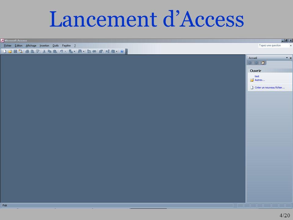 Lancement d'Access