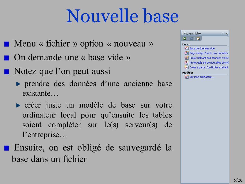 Nouvelle base Menu « fichier » option « nouveau »