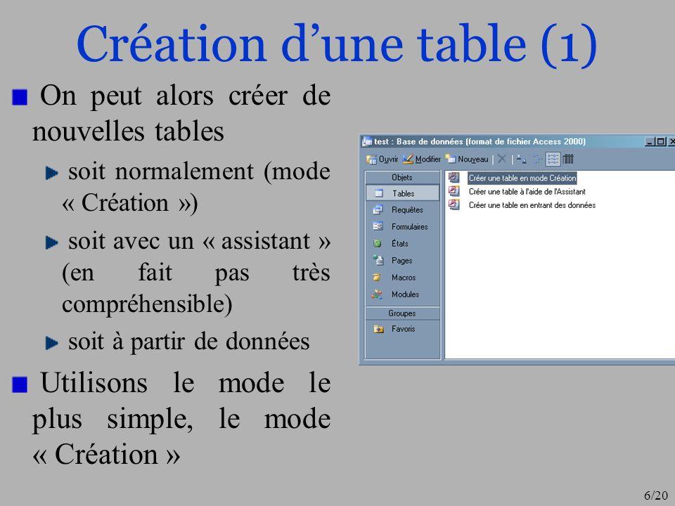 Création d'une table (1)