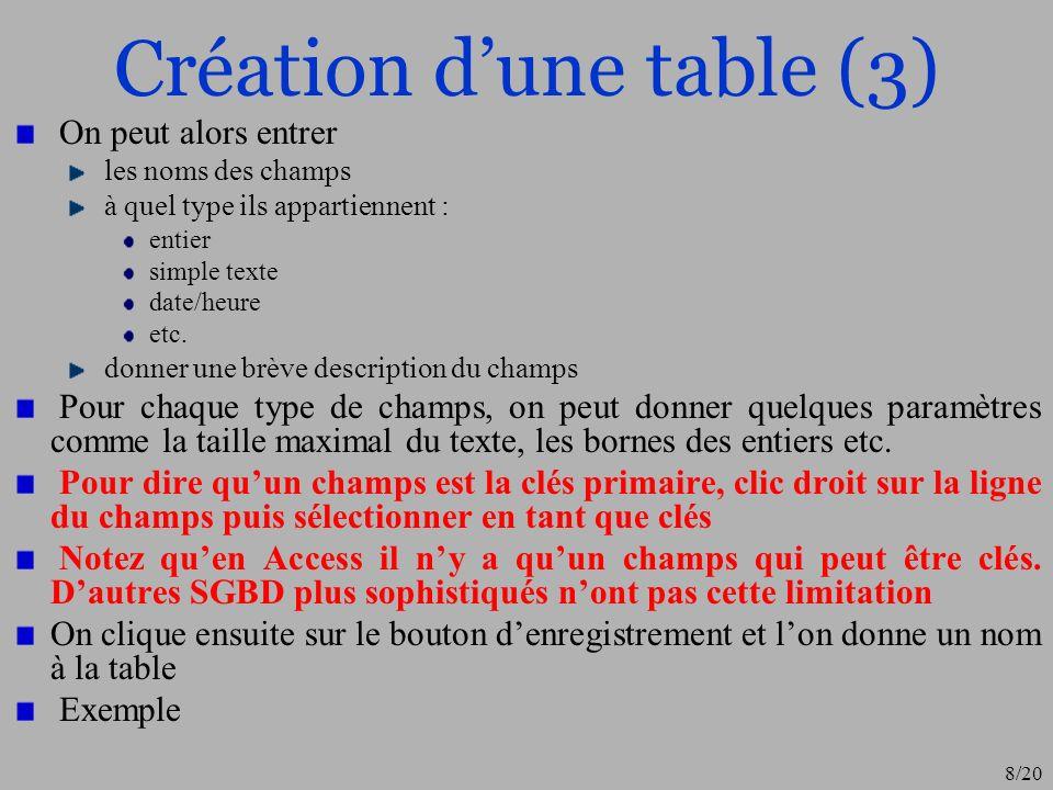 Création d'une table (3)