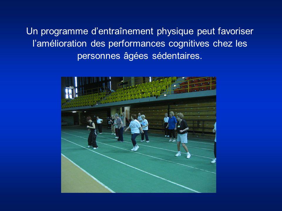 Un programme d'entraînement physique peut favoriser l'amélioration des performances cognitives chez les personnes âgées sédentaires.