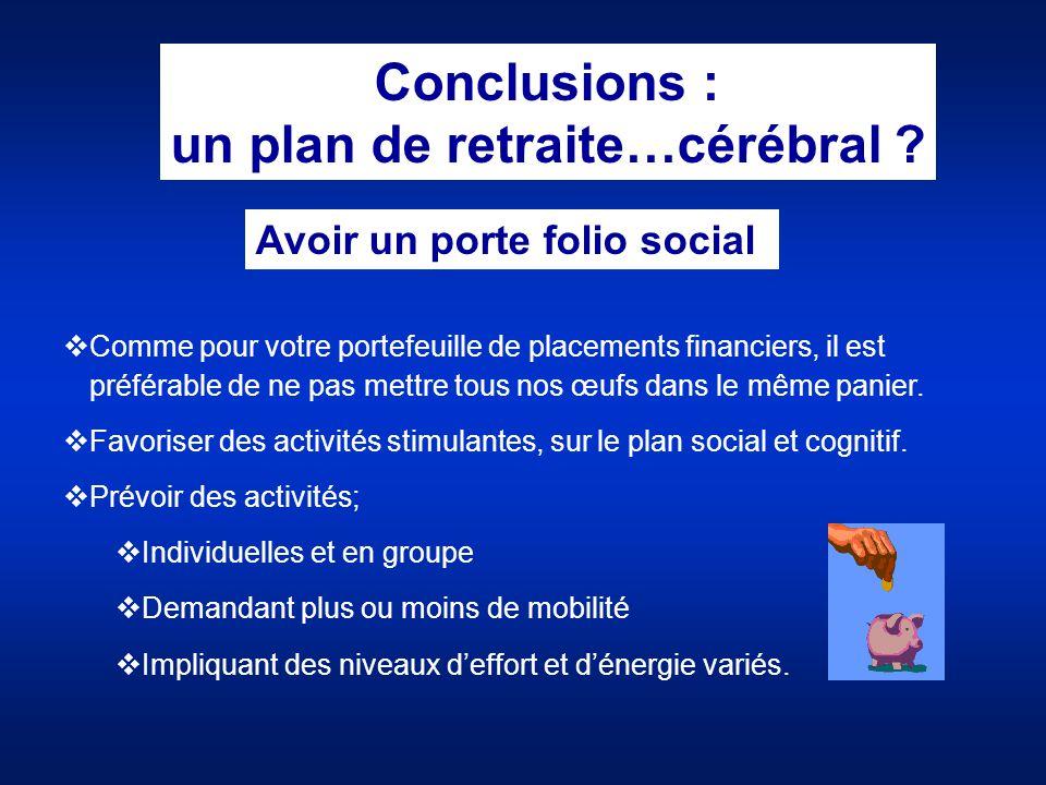 un plan de retraite…cérébral Avoir un porte folio social