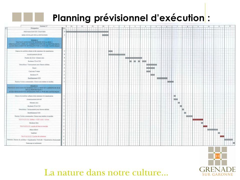Planning prévisionnel d'exécution :