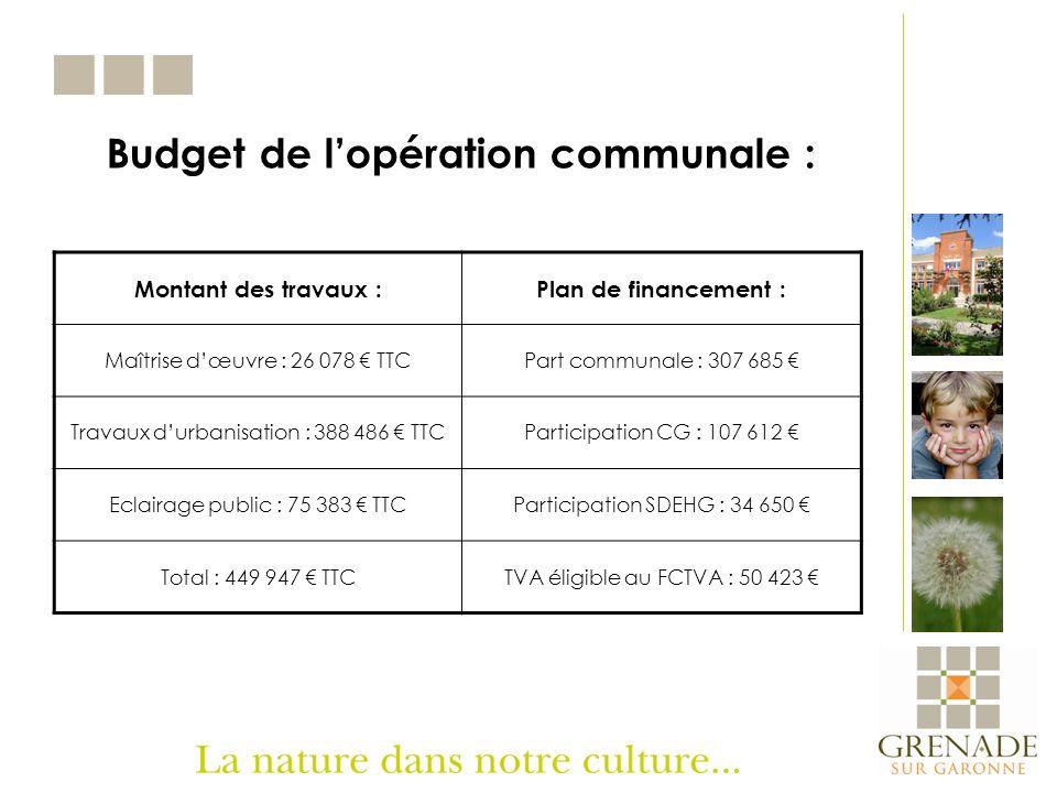 Budget de l'opération communale :