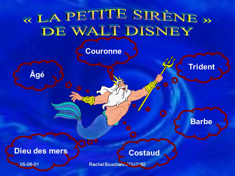 « LA PETITE SIRÈNE » DE WALT DISNEY Couronne Trident Âgé Barbe