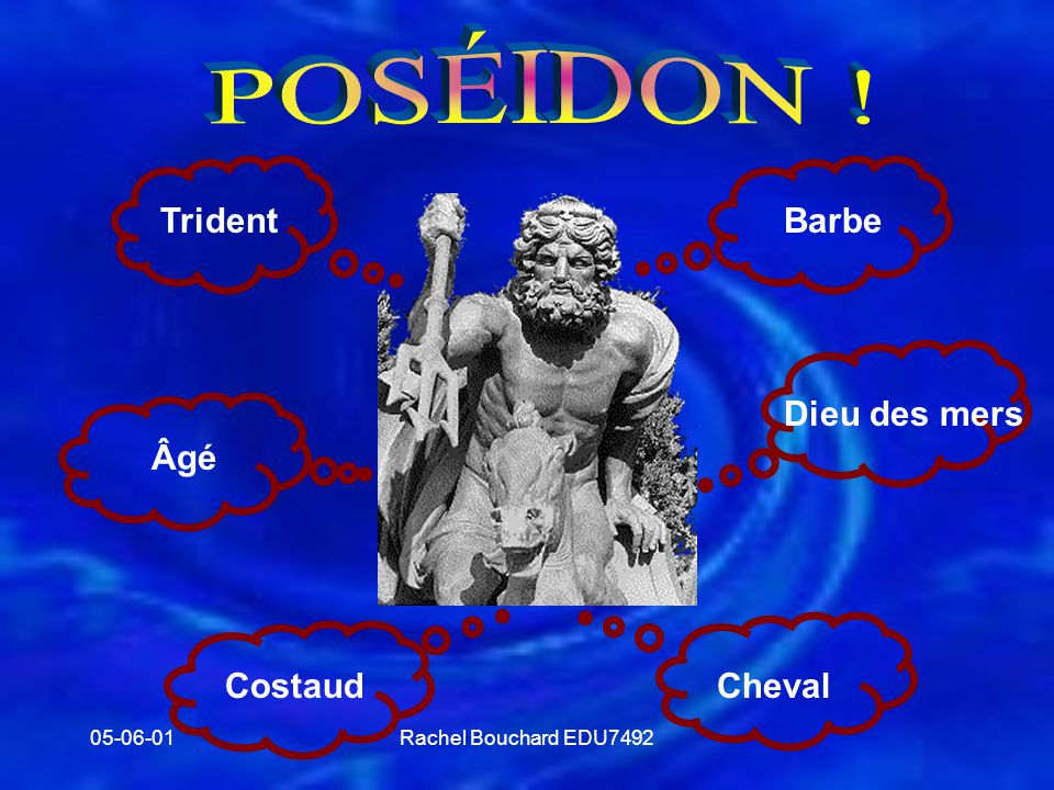 POSÉIDON ! Trident Barbe Dieu des mers Âgé Cheval Costaud 05-06-01