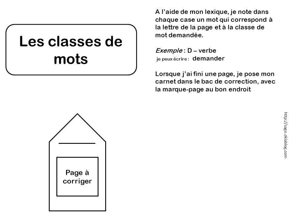 Les classes de mots Page à corriger