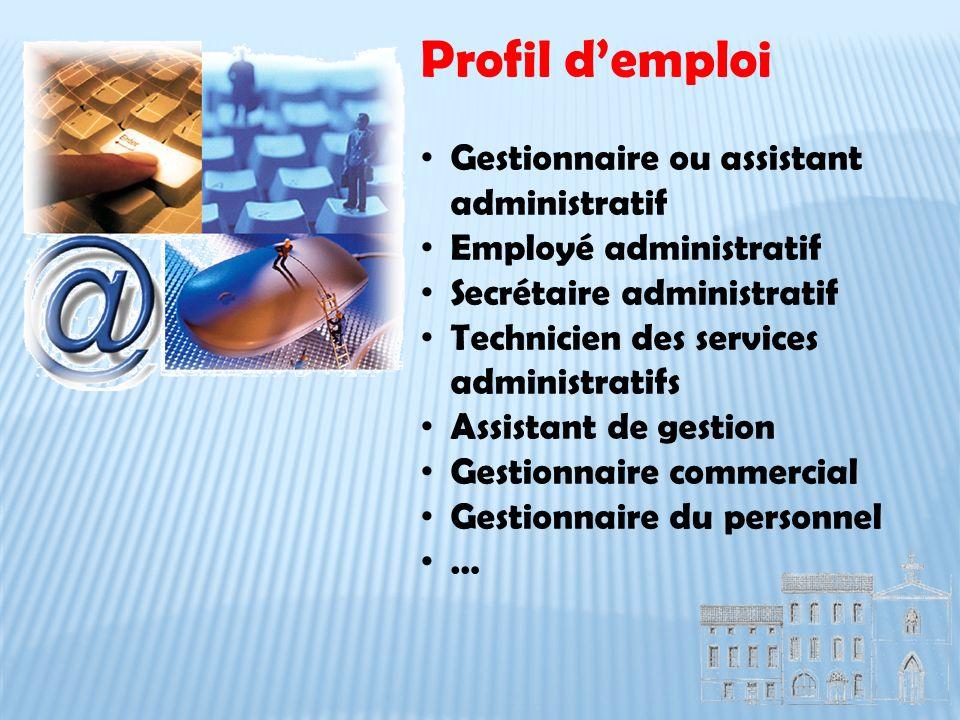 Profil d'emploi Gestionnaire ou assistant administratif