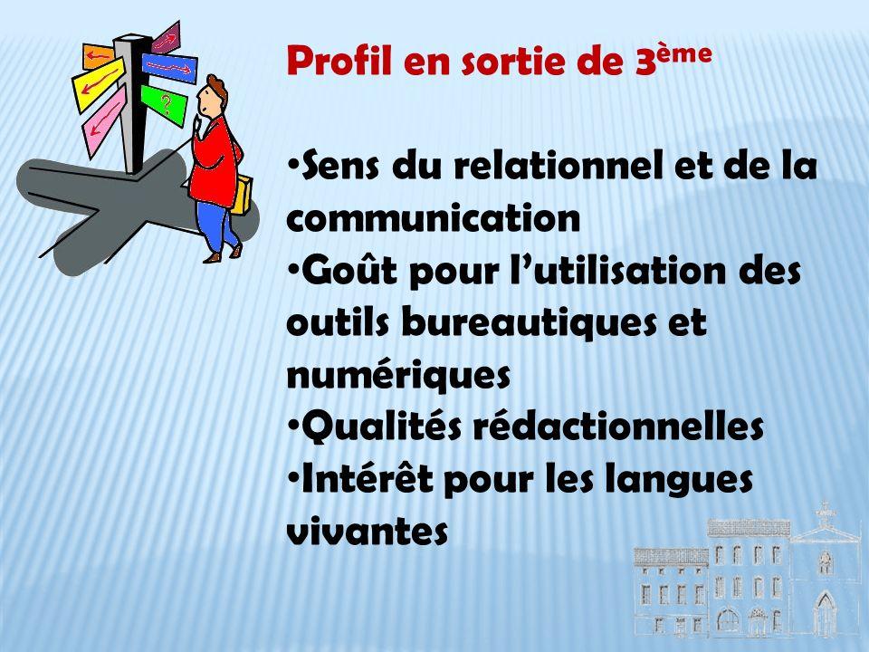 Profil en sortie de 3ème Sens du relationnel et de la communication. Goût pour l'utilisation des outils bureautiques et numériques.