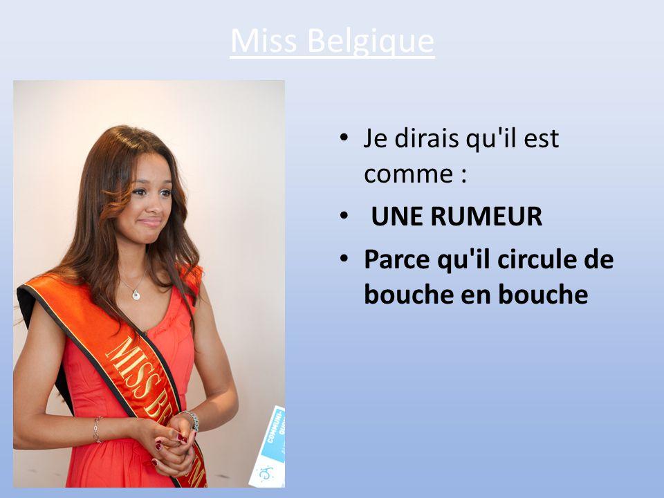 Miss Belgique Je dirais qu il est comme : UNE RUMEUR