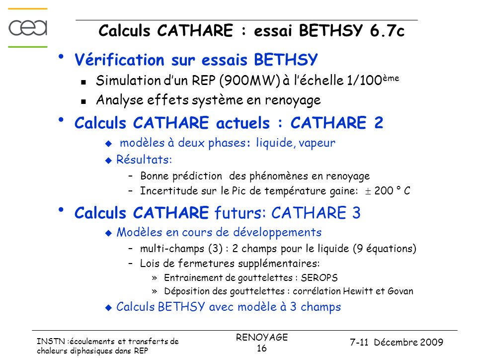 Calculs CATHARE : essai BETHSY 6.7c