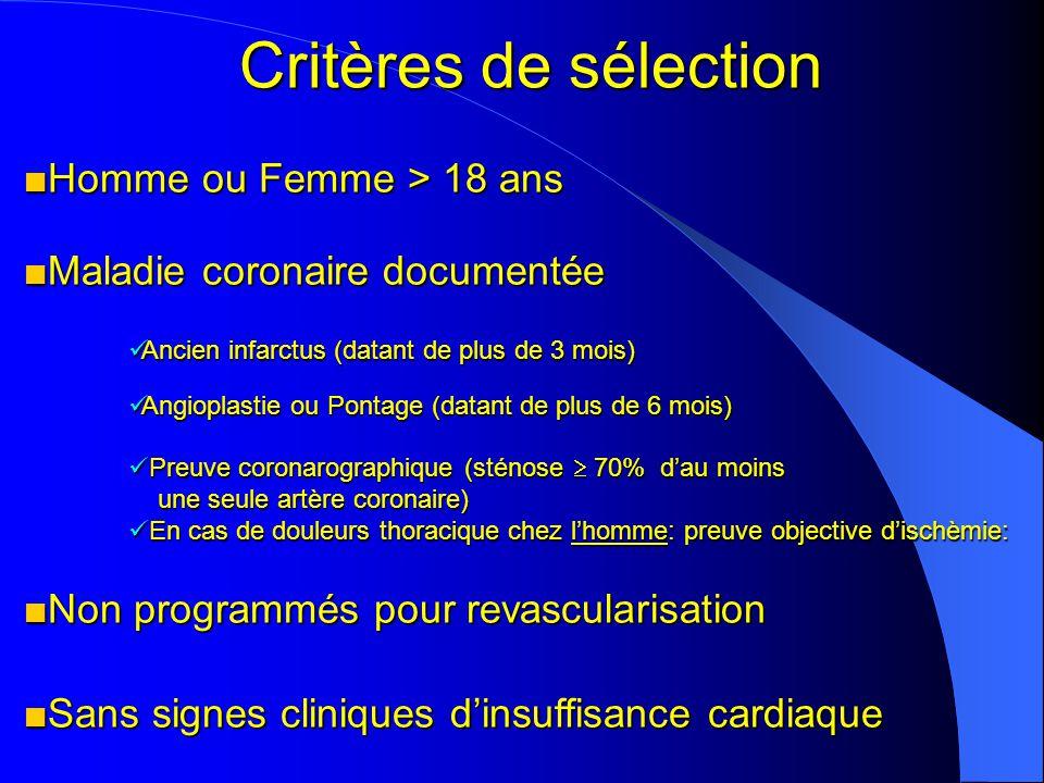 Critères de sélection Homme ou Femme > 18 ans