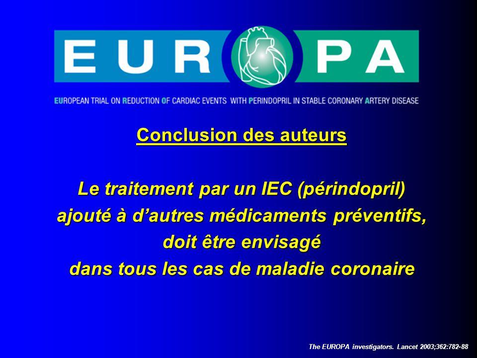 Conclusion des auteurs Le traitement par un IEC (périndopril)