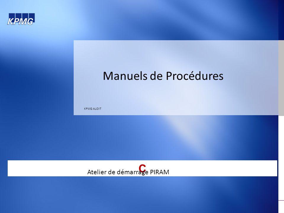 Manuels de Procédures KPMG AUDIT C Atelier de démarrage PIRAM