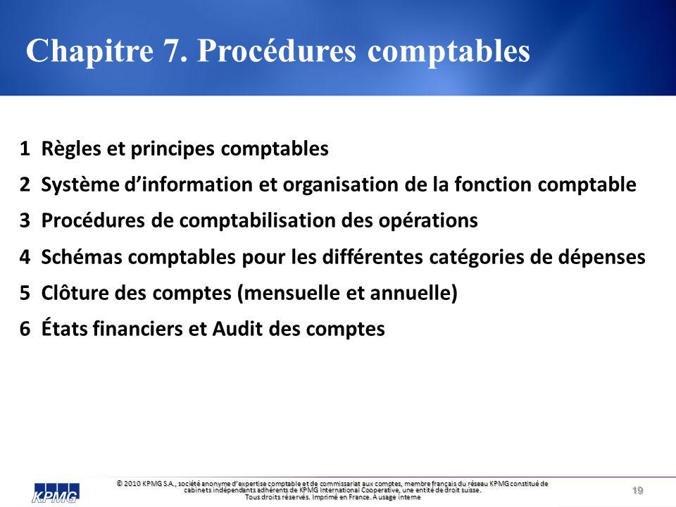 Chapitre 7. Procédures comptables