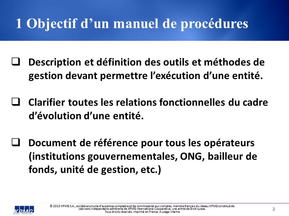 1 Objectif d'un manuel de procédures
