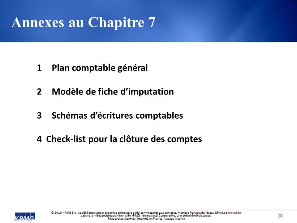 Annexes au Chapitre 7 Plan comptable général
