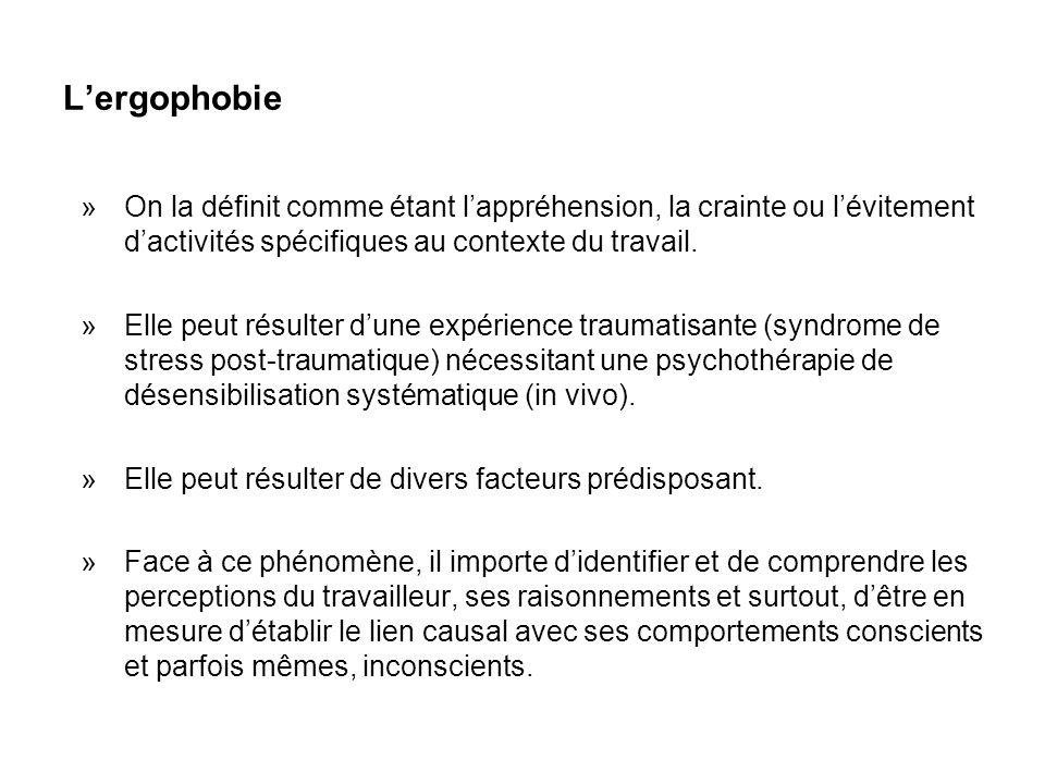 L'ergophobie On la définit comme étant l'appréhension, la crainte ou l'évitement d'activités spécifiques au contexte du travail.