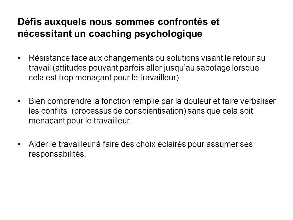 Défis auxquels nous sommes confrontés et nécessitant un coaching psychologique