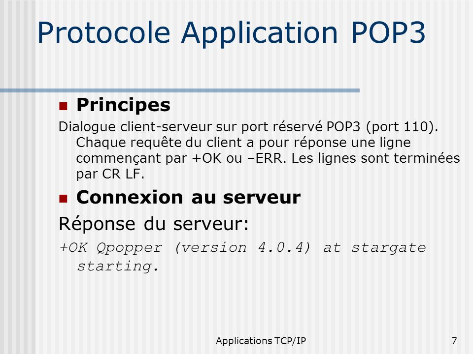 Protocole Application POP3