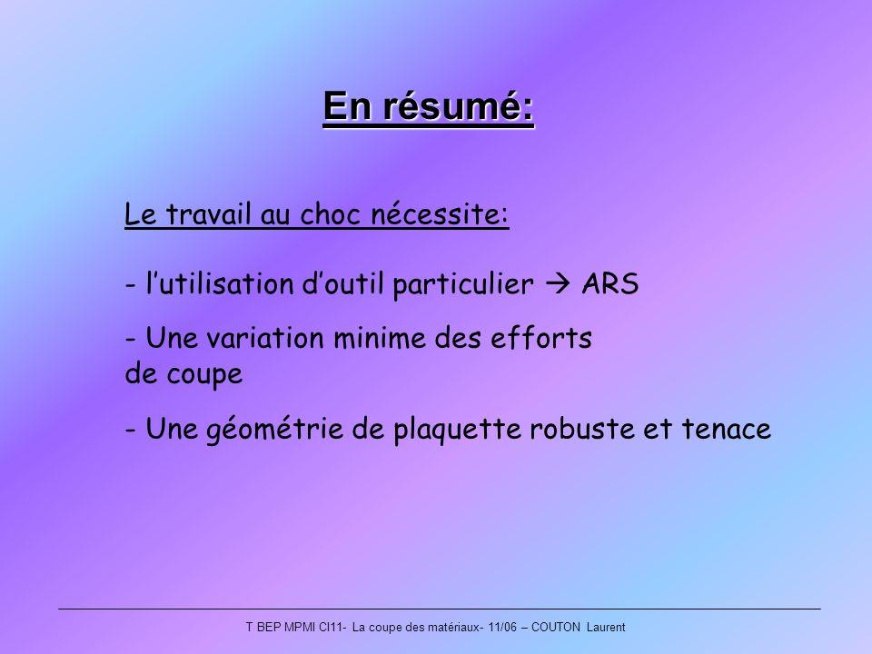 T BEP MPMI CI11- La coupe des matériaux- 11/06 – COUTON Laurent