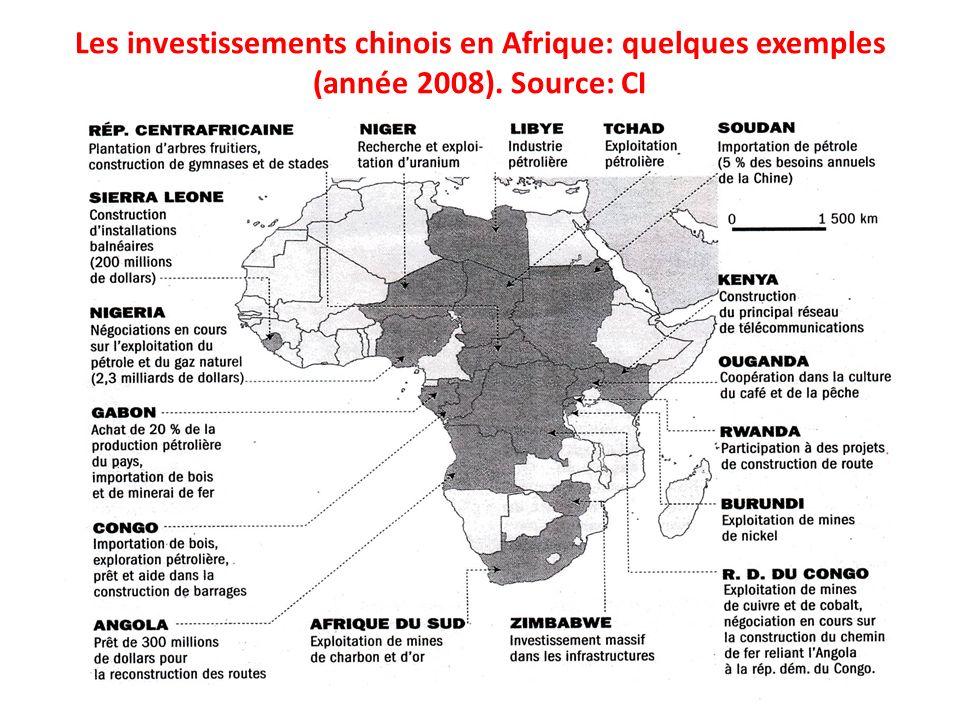 Les investissements chinois en Afrique: quelques exemples (année 2008)