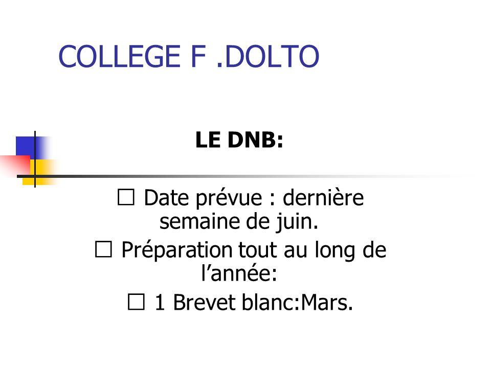 COLLEGE F .DOLTO LE DNB:  Date prévue : dernière semaine de juin.