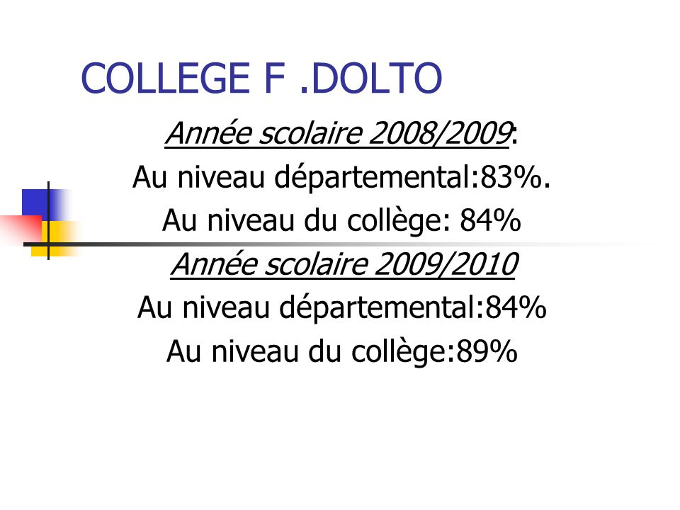 COLLEGE F .DOLTO Année scolaire 2008/2009: