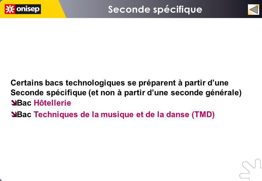 Seconde spécifique Certains bacs technologiques se préparent à partir d'une Seconde spécifique (et non à partir d'une seconde générale)