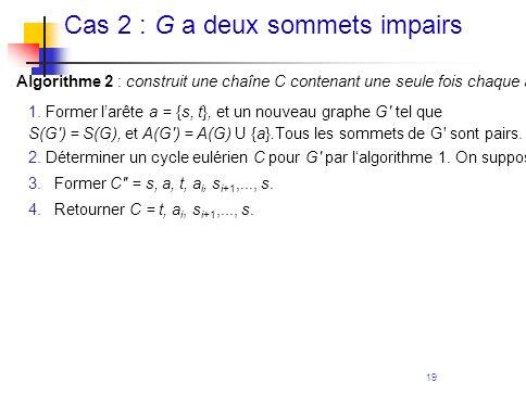 Cas 2 : G a deux sommets impairs