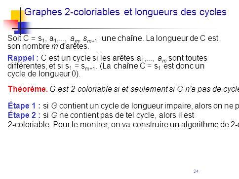 Graphes 2-coloriables et longueurs des cycles