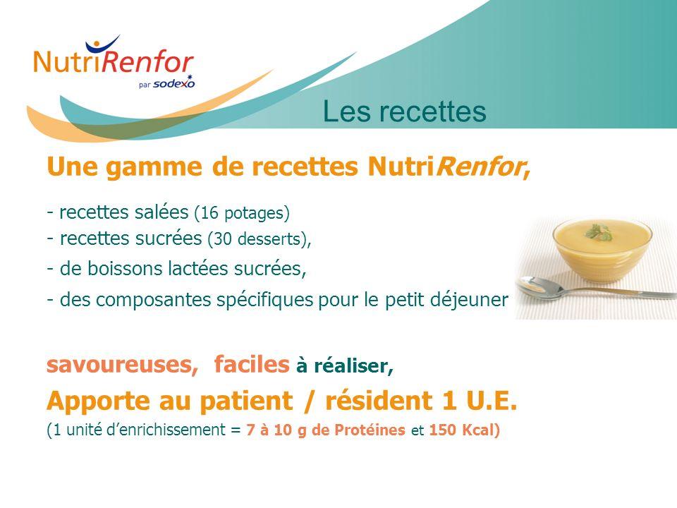Les recettes Une gamme de recettes NutriRenfor,
