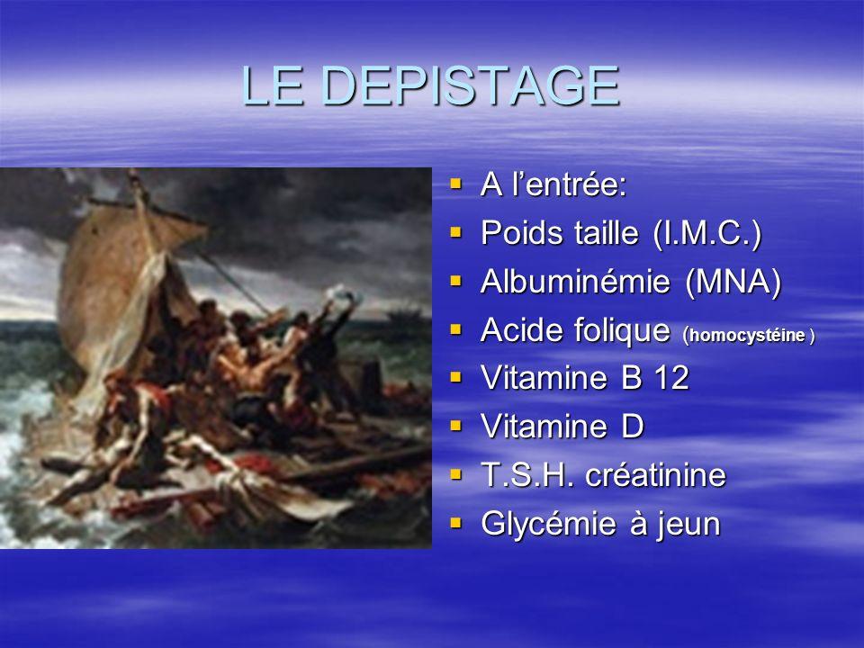 LE DEPISTAGE A l'entrée: Poids taille (I.M.C.) Albuminémie (MNA)
