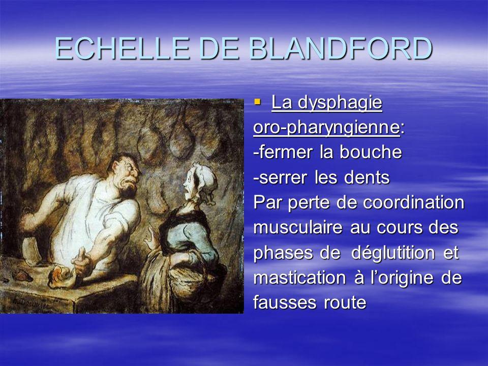 ECHELLE DE BLANDFORD La dysphagie oro-pharyngienne: -fermer la bouche