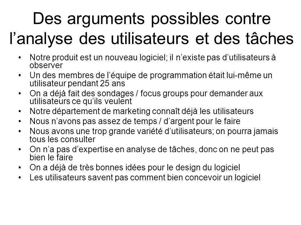 Des arguments possibles contre l'analyse des utilisateurs et des tâches
