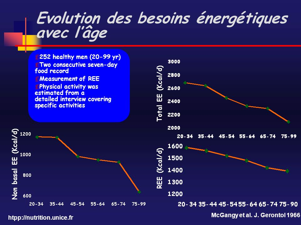 Evolution des besoins énergétiques avec l'âge